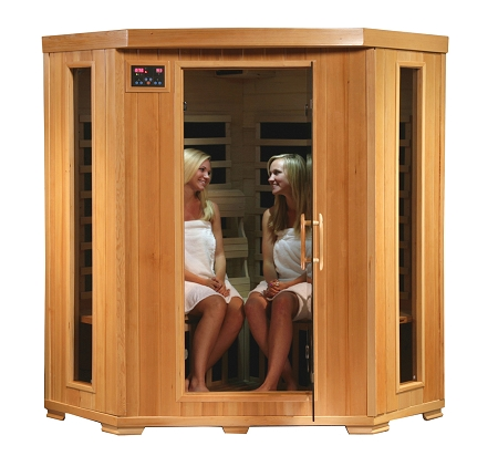 infrared 4 person corner sauna with carbon heaters. Black Bedroom Furniture Sets. Home Design Ideas