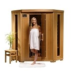 Infrared 3 Person Corner Sauna with Carbon Heaters - Santa Fe Series