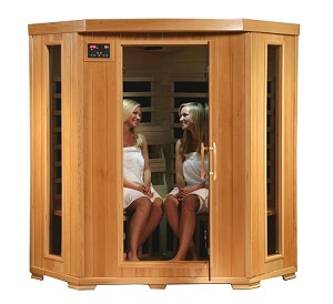 Infrared 4 Person Corner Sauna with Carbon Heaters - Tucson Series