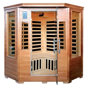 Infrared 3 Person Majestic Corner Sauna w/ 7 Deluxe Carbon Heaters